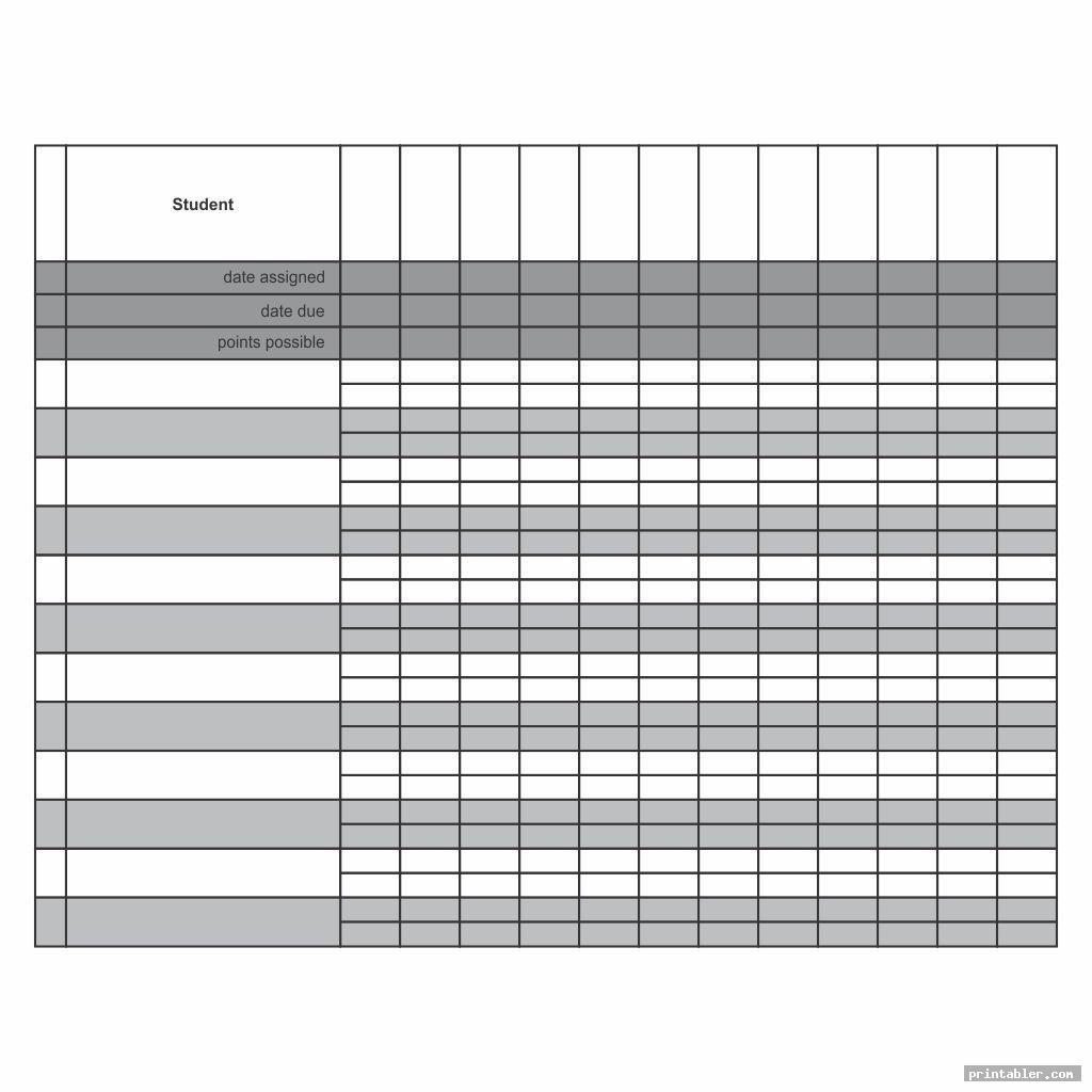 blank printable grade sheet for students