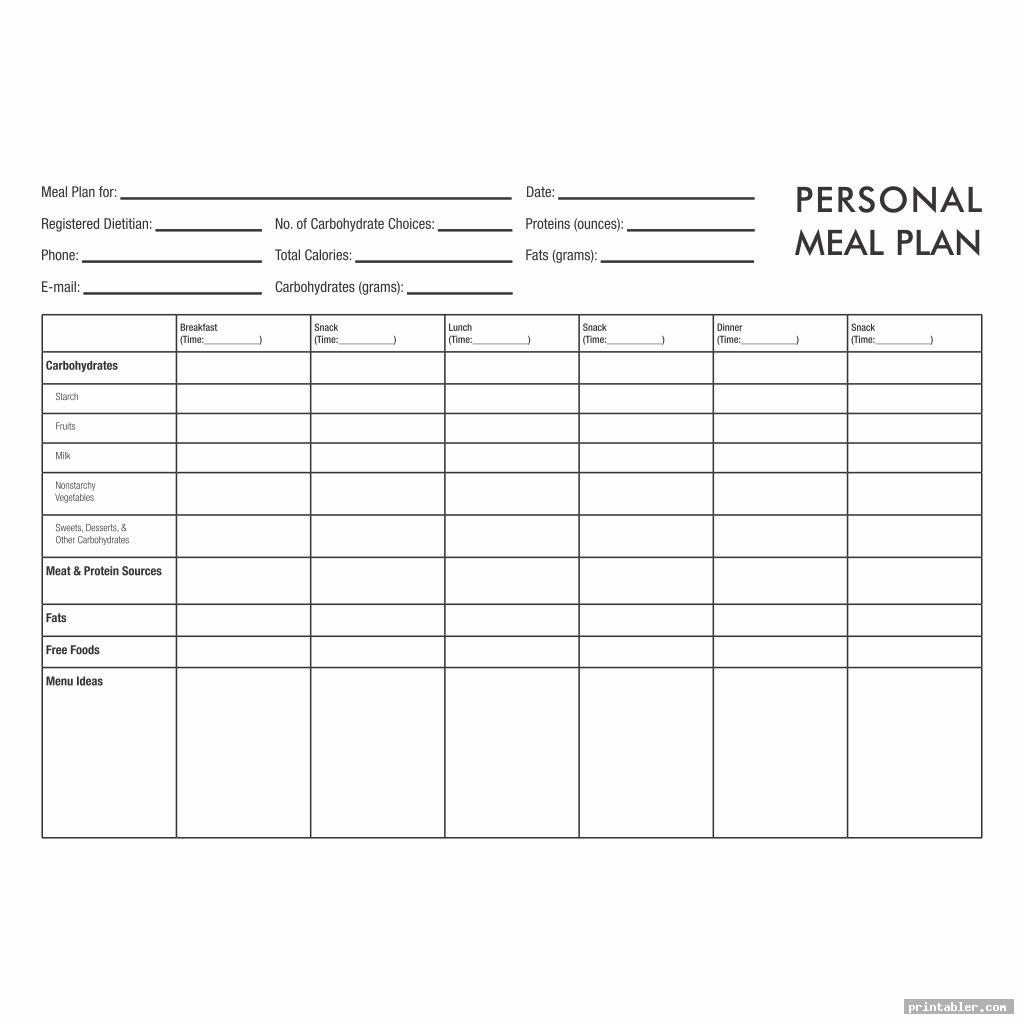 blank printable meal planner calorie charts