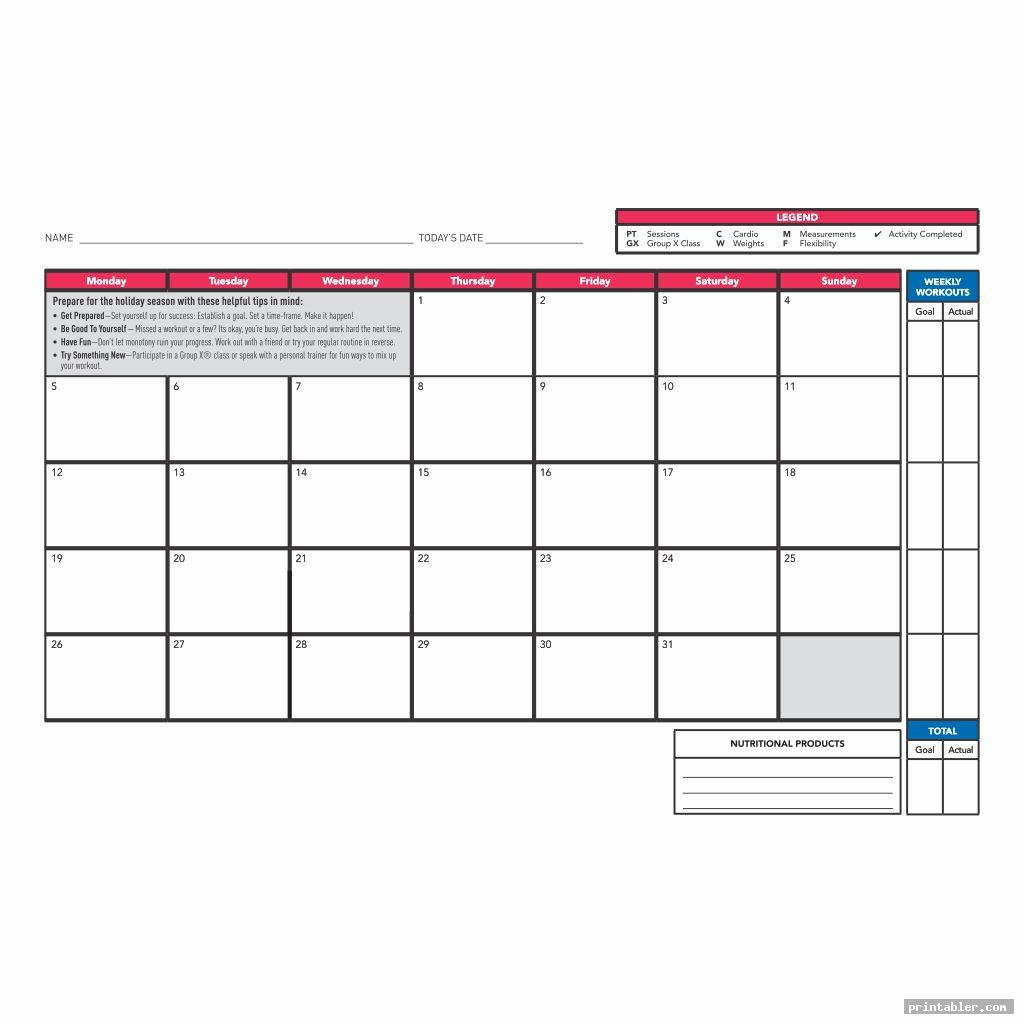 Cardio Workout Log Template Printable