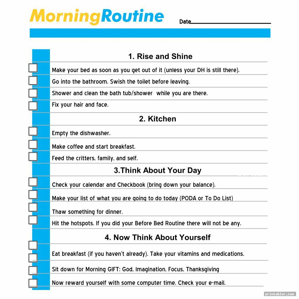 Printable Morning Routine Flylady