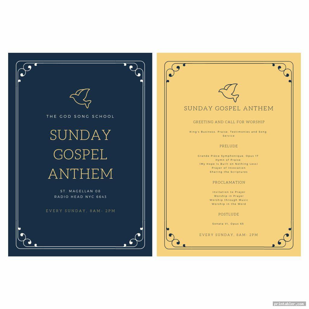 classic printable church program design