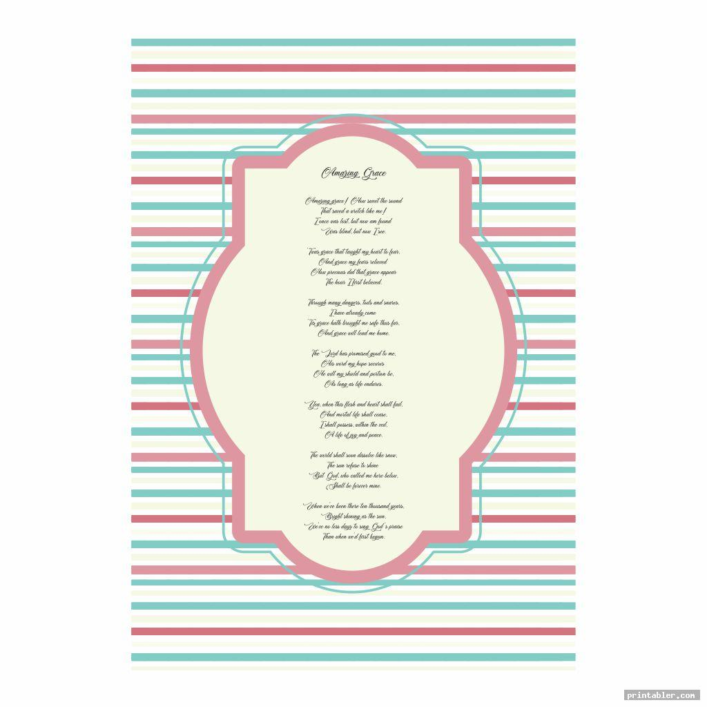 colorful amazing grace lyrics printable