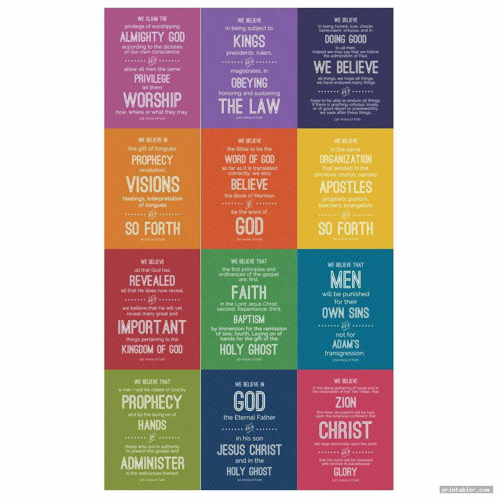 colorful games article of faith printables