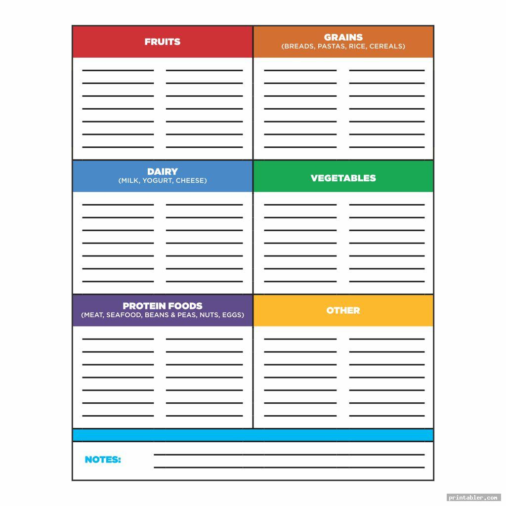 Grocery List Template Printable Amenable