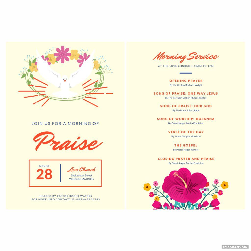 colorful printable church program design