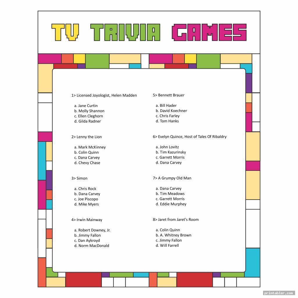 Printable TV Trivia Games