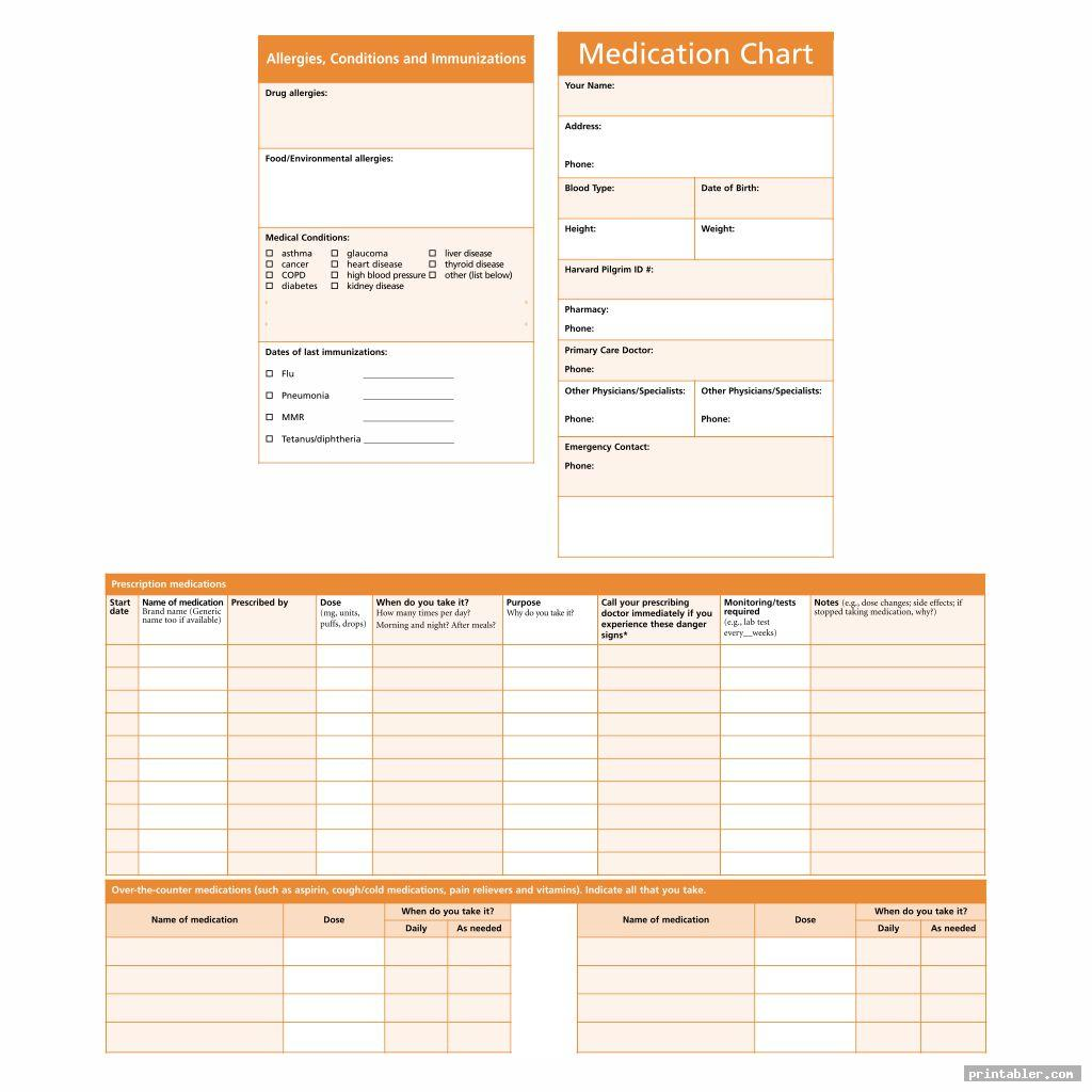 complete drug medication chart printable