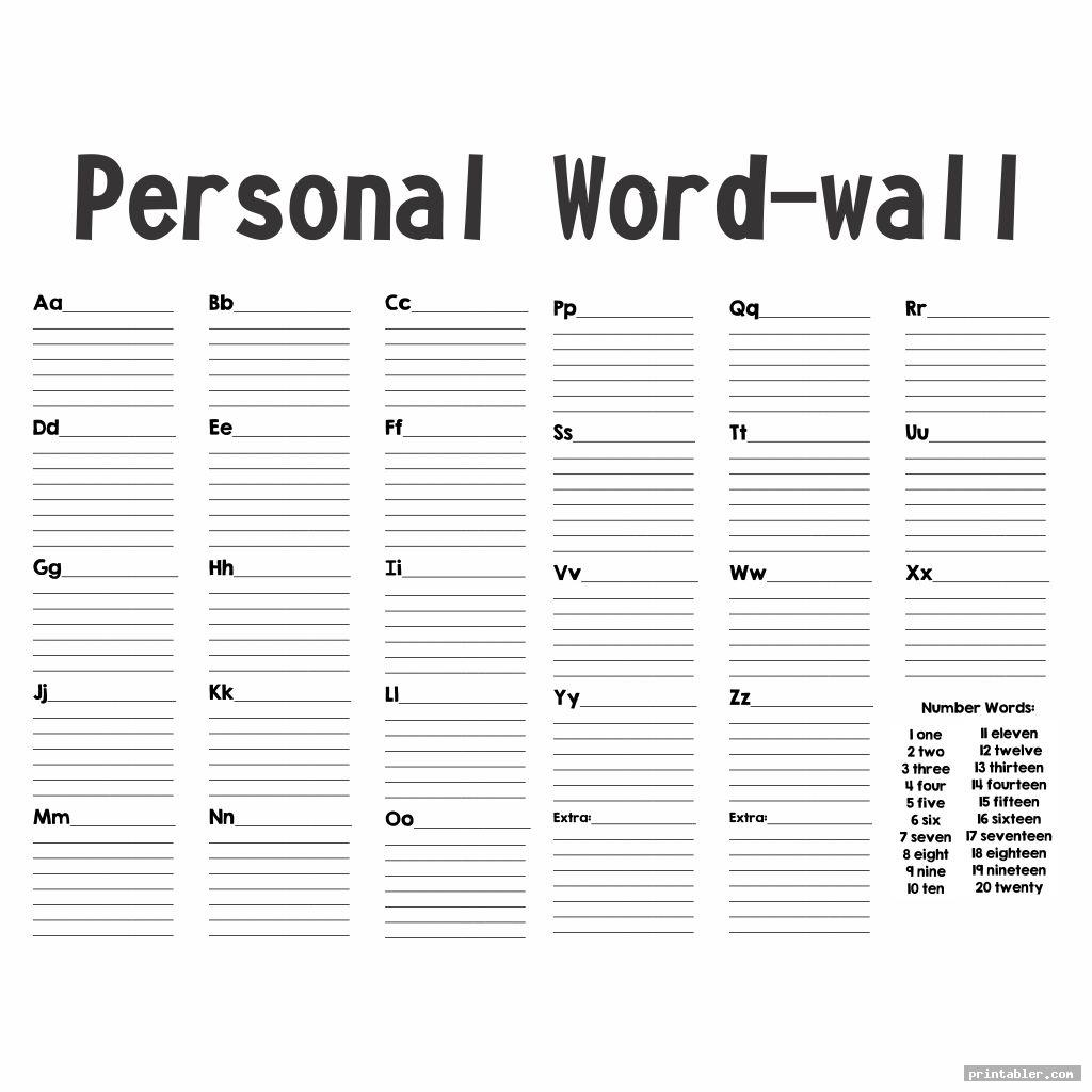 complete personal word wall printable