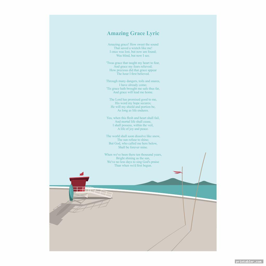 cool amazing grace lyrics printable