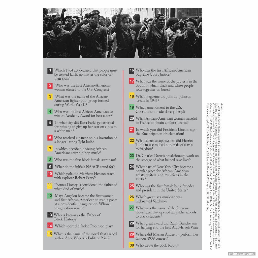 cool black history month trivia printable