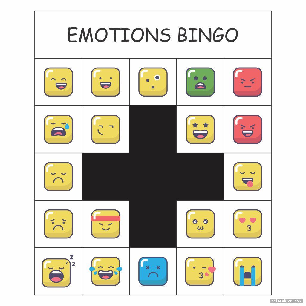 cool emotions bingo printable game