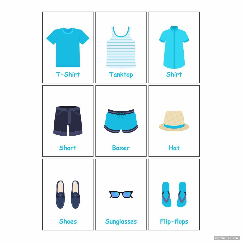 cool men printable clothes flashcards for toddlers