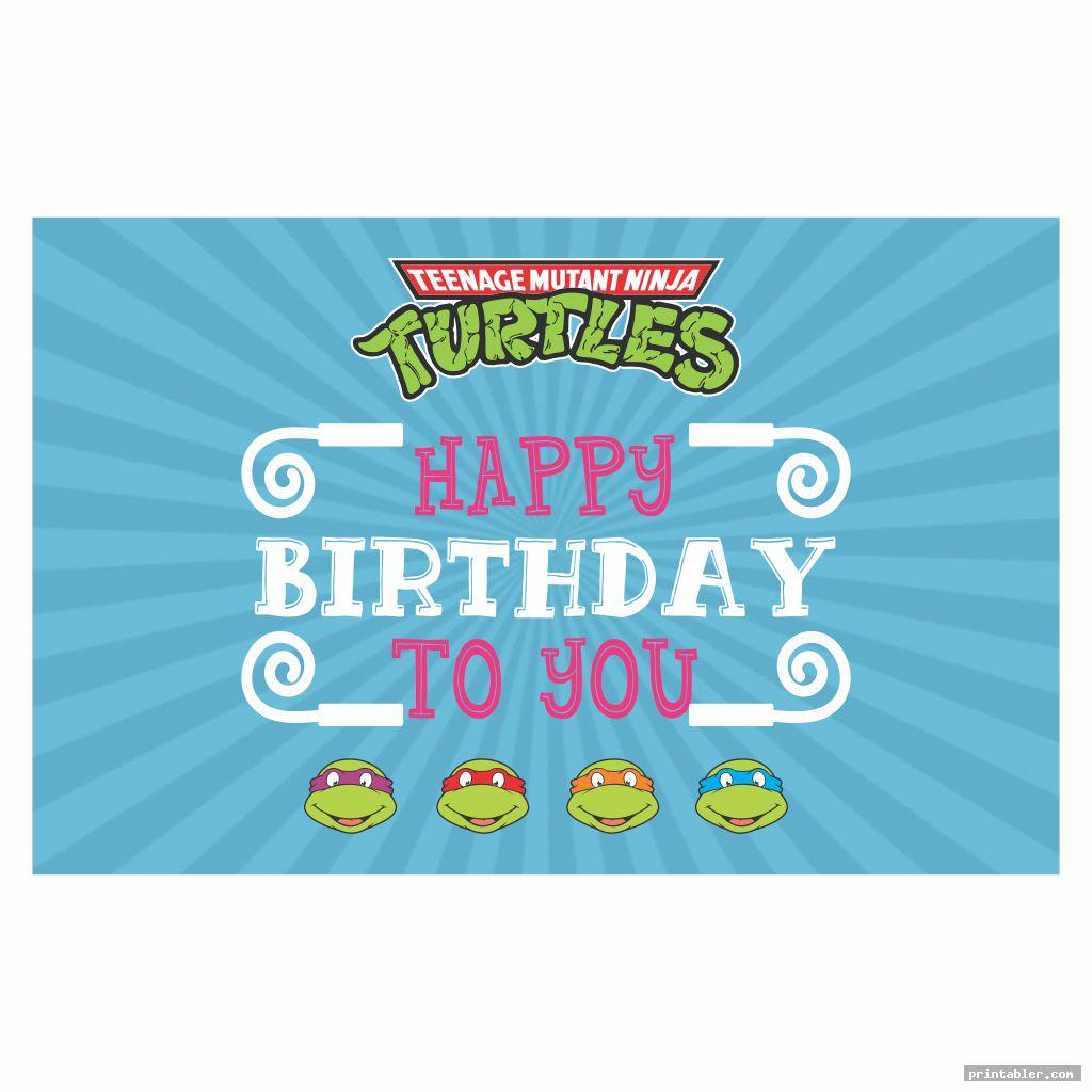 Ninja Turtle Happy Birthday Banner Printable