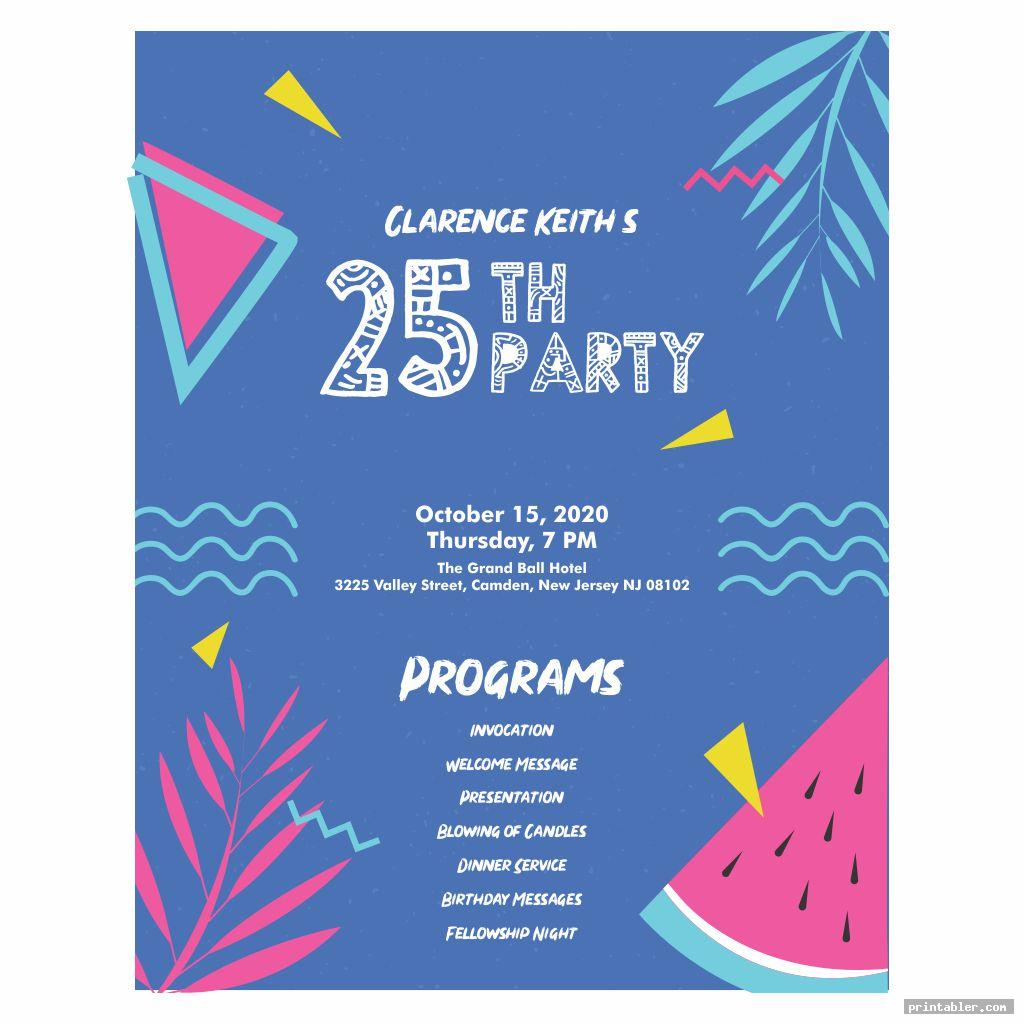 cool printable birthday program templates