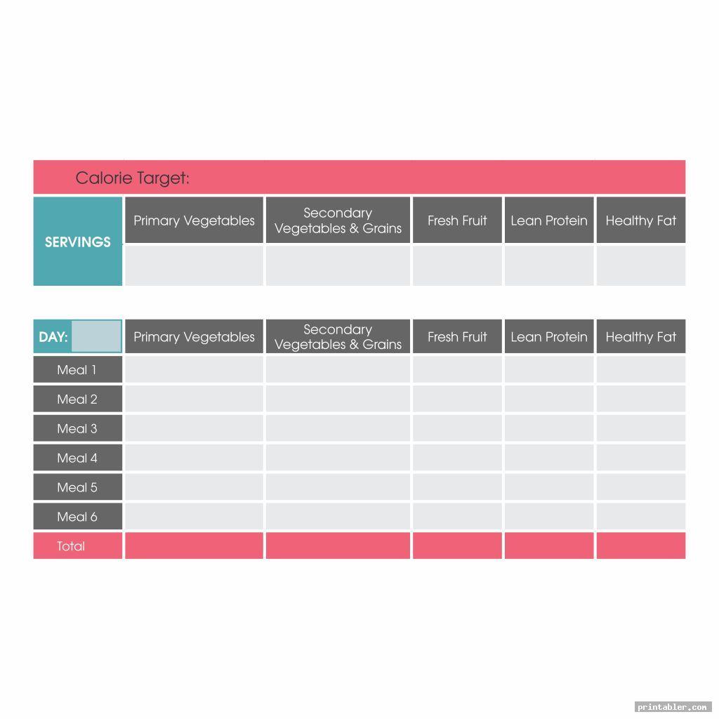 Printable Diet Journal Template
