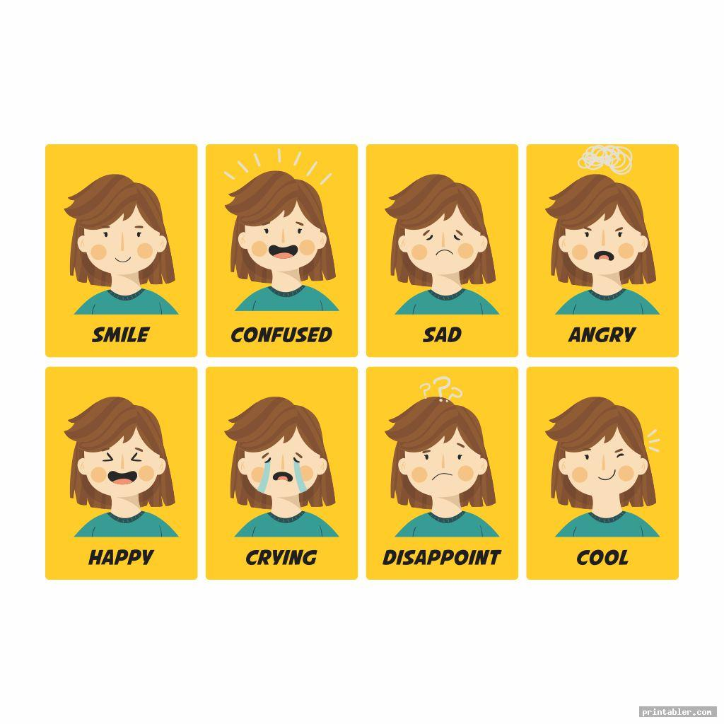 Printable of Various Emotion Cards