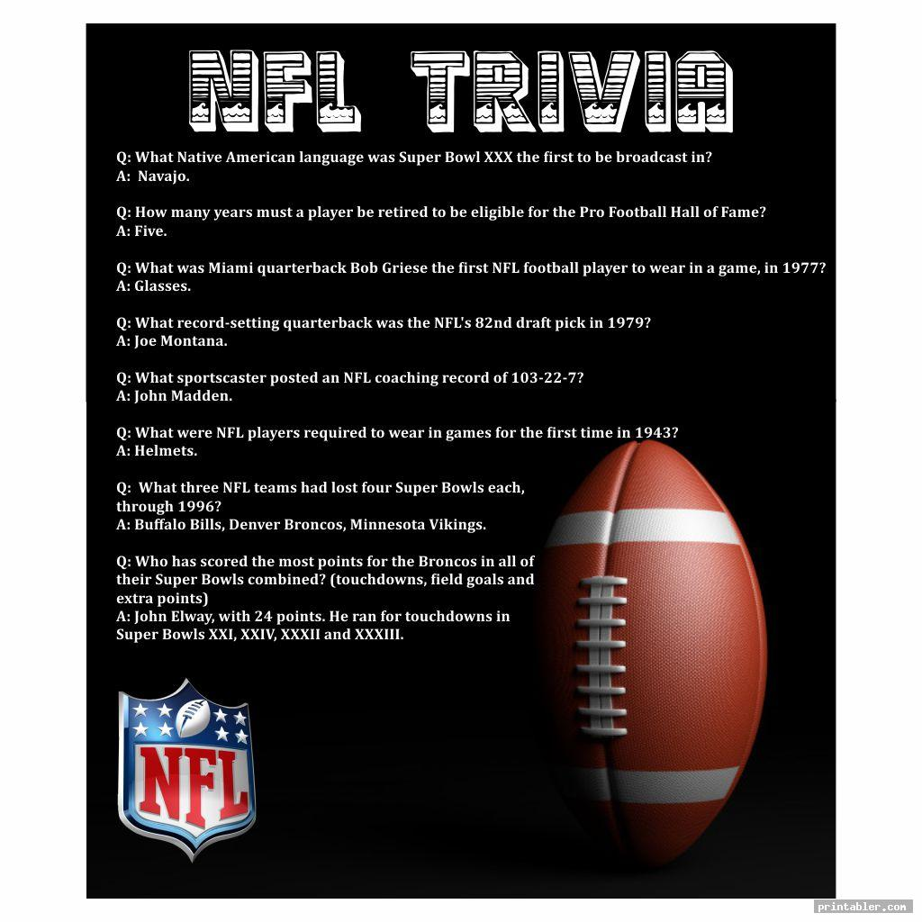 cool printable nfl trivia questions and answers