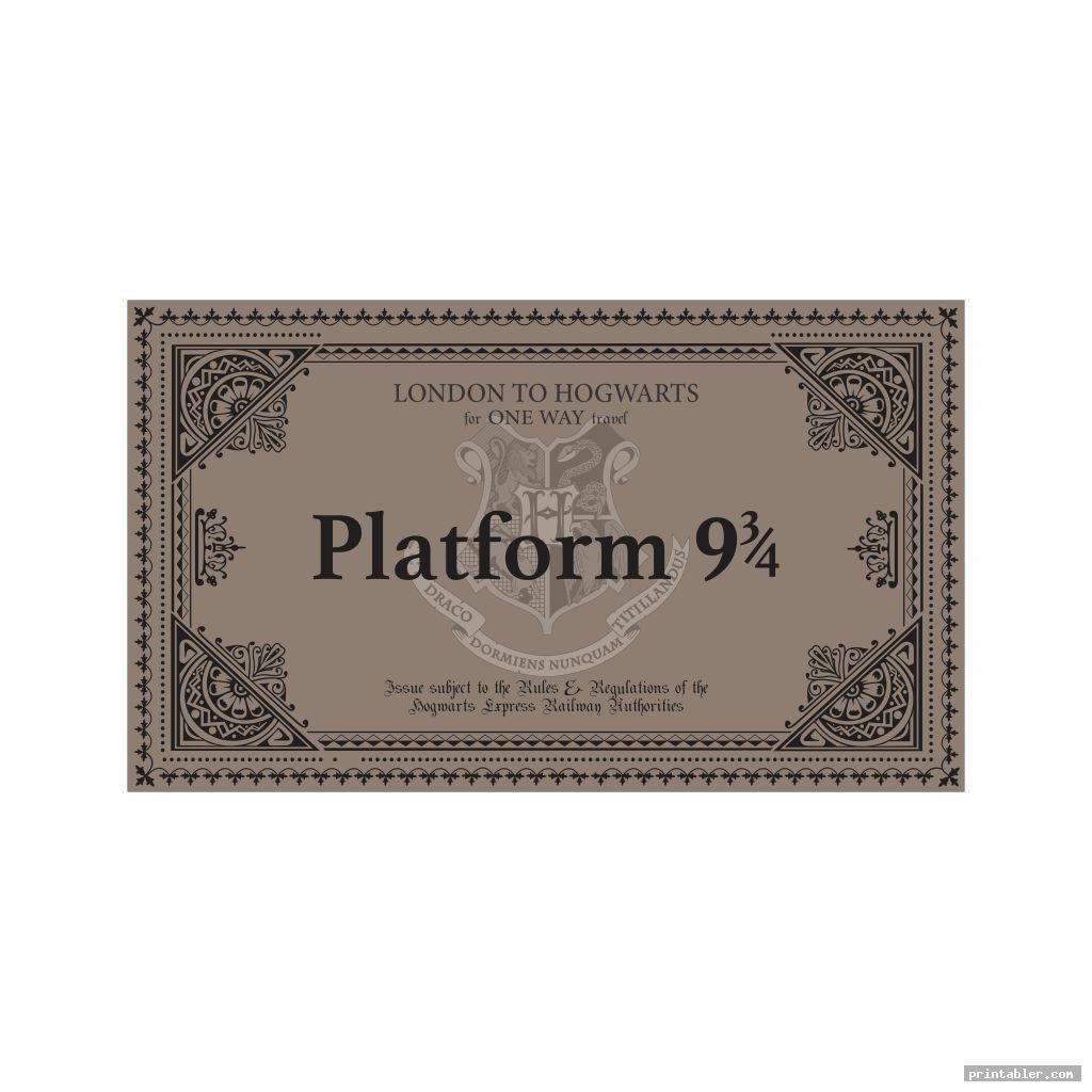 Printable Train Ticket Harry Potter