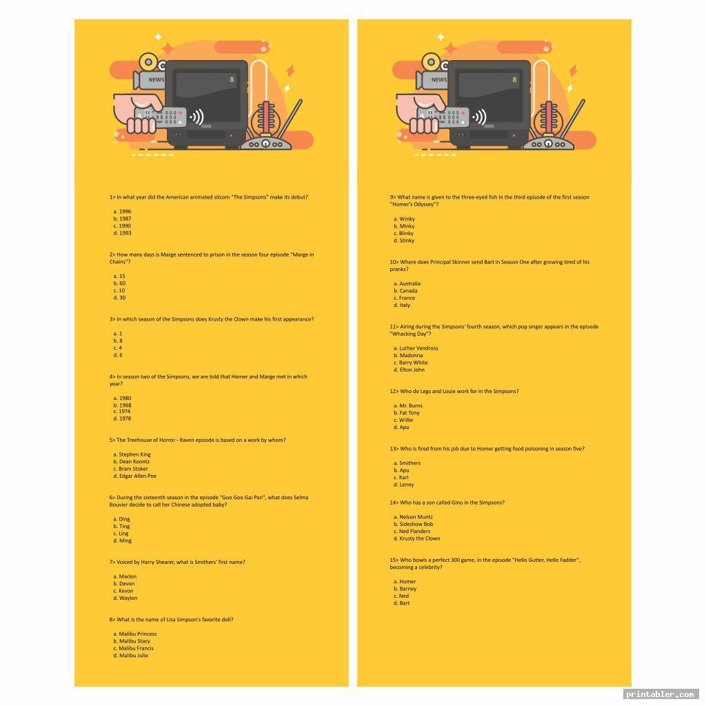 cool printable tv trivia games