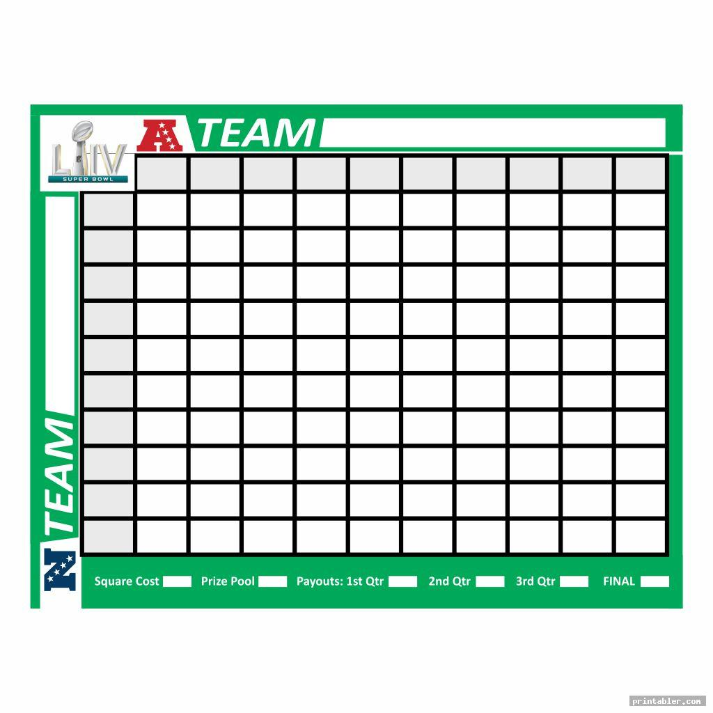 Super Bowl Football Squares Printable