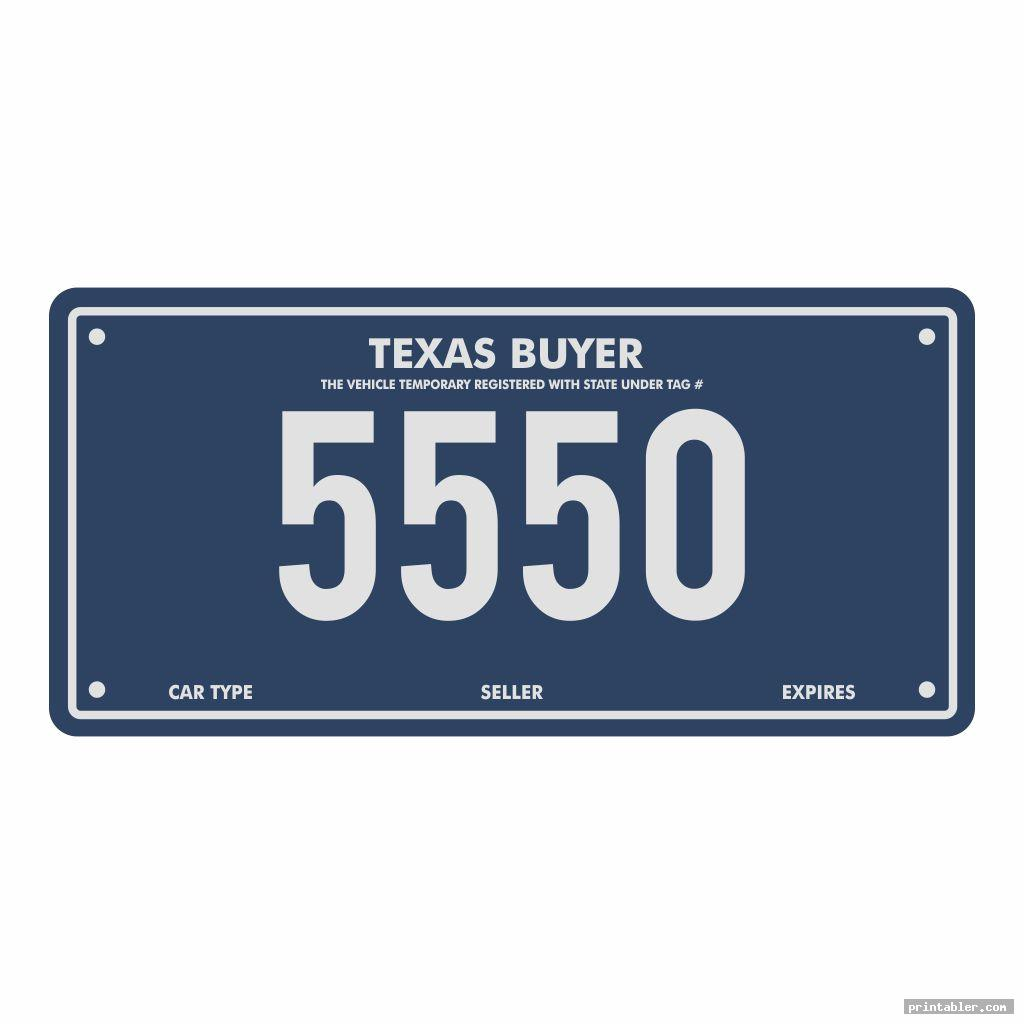 cool texas temporary license plate printable