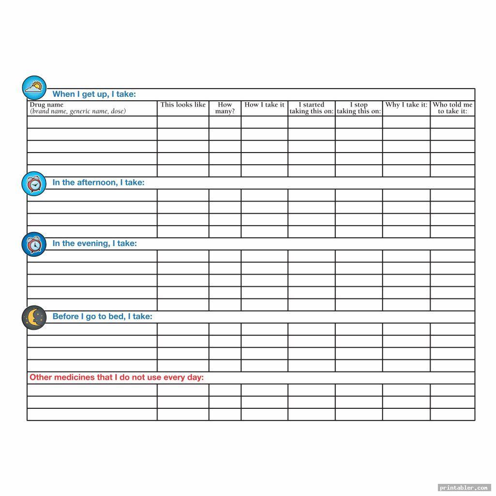 cute drug medication chart printable