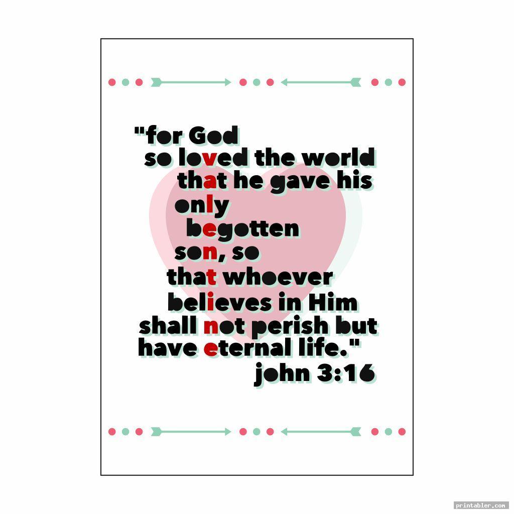 John 3-16 Valentine Printable Heart