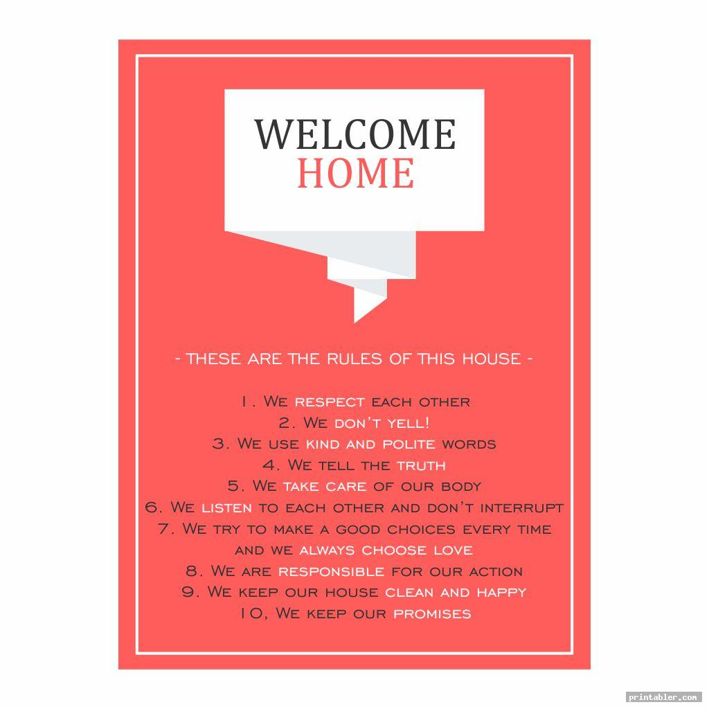 cute printable household rules