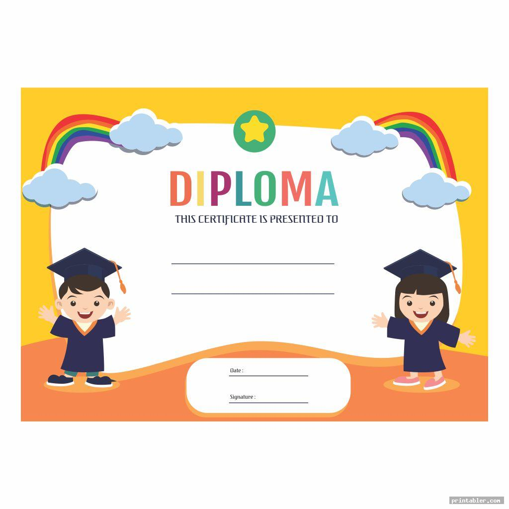 Printable Kindergarten Graduation Certificate Template