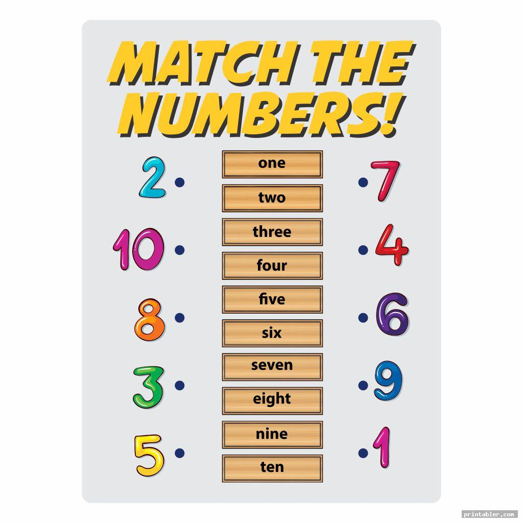 cute printable number match for preschool