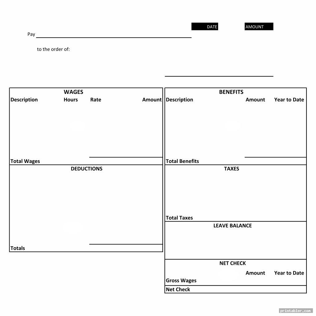 employee printable blank paycheck stubs