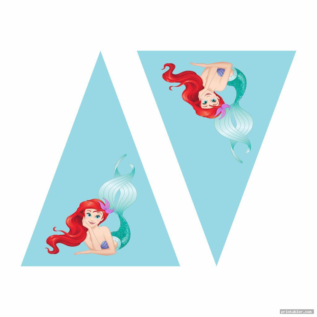 flag ariel birthday printables