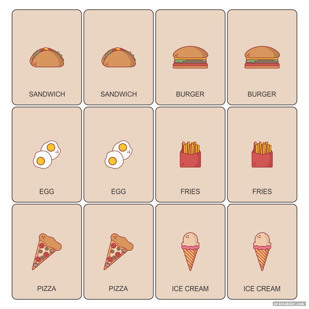 food memory game printable image free