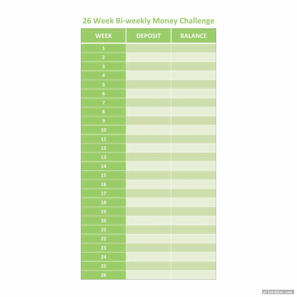 26 Week Money Challenge Chart Printable