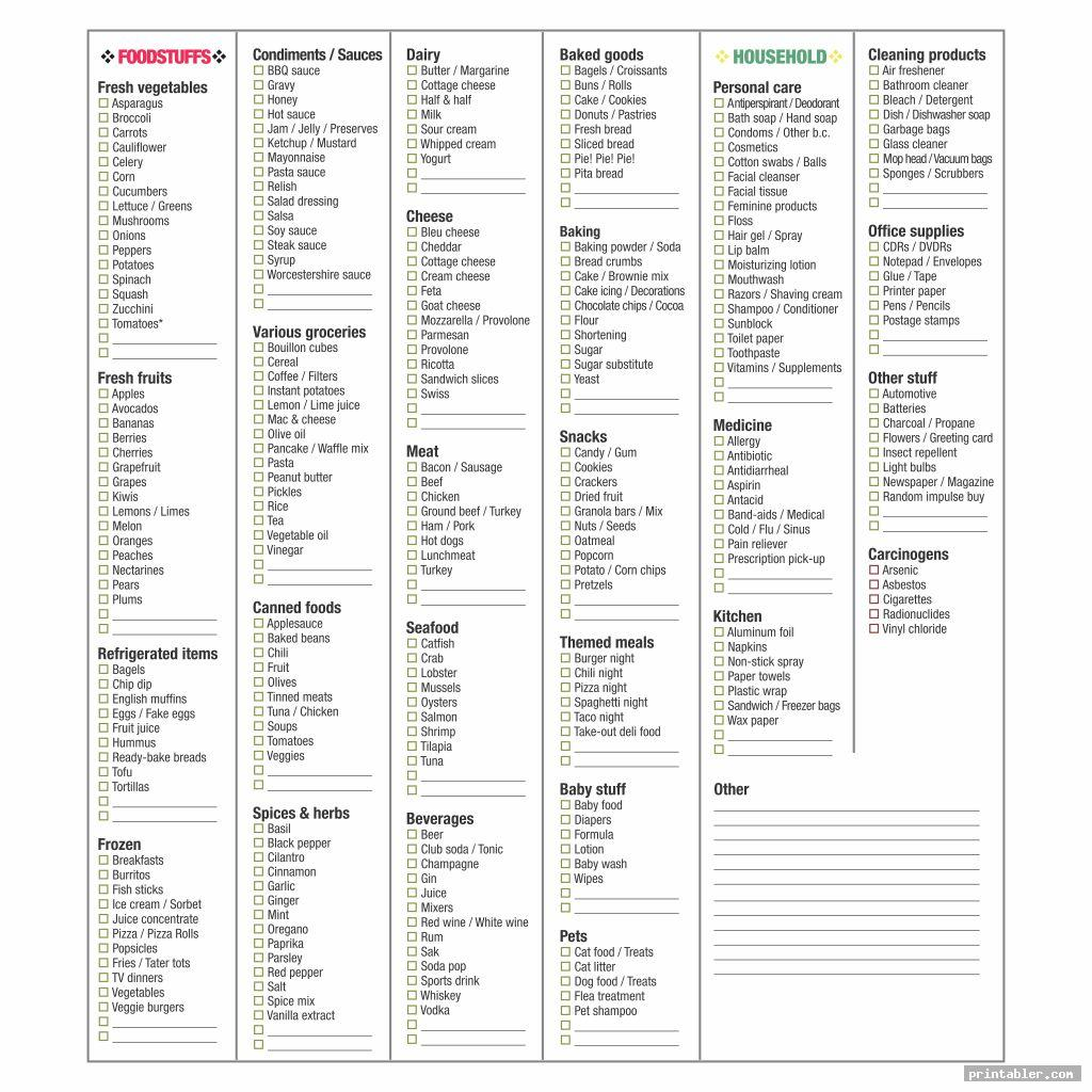grocery store list printable image free