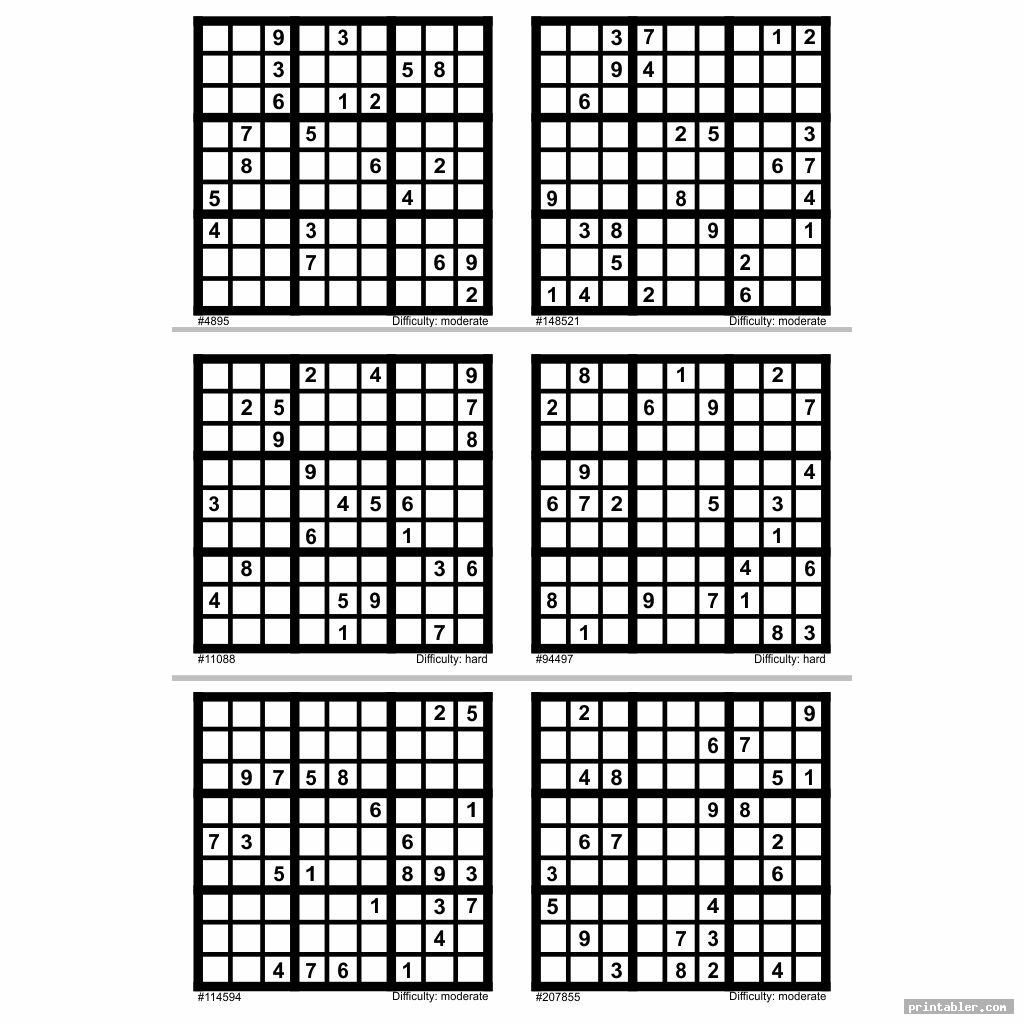 graphic relating to Printable Sudoku 6 Per Page named Difficult Sudoku Printable 6 For every Website page -