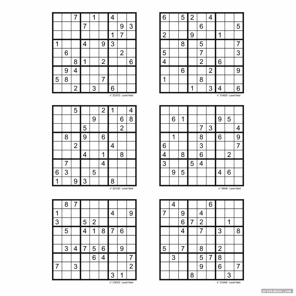 picture about Printable Sudoku Puzzles 6 Per Page known as Printable Sudoku Tough