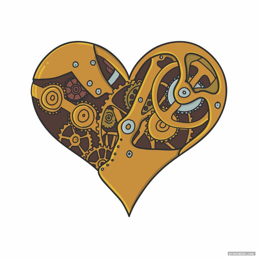 heart printable steampunk vintage