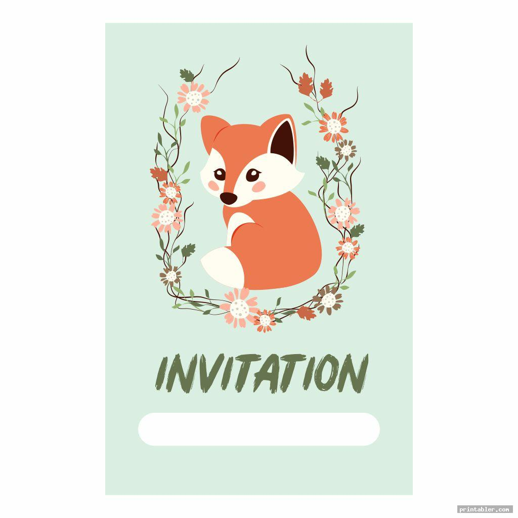 invitation card woodland animals party printables