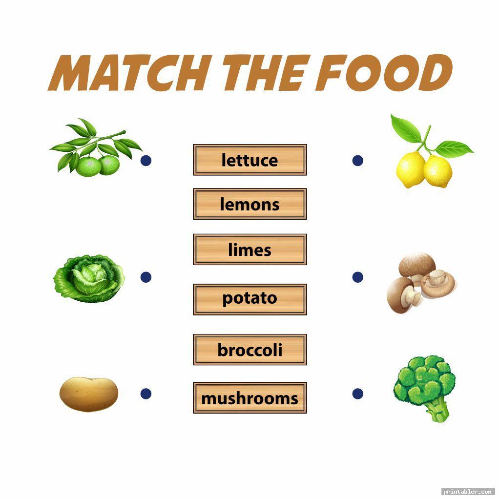 matching food memory game printable