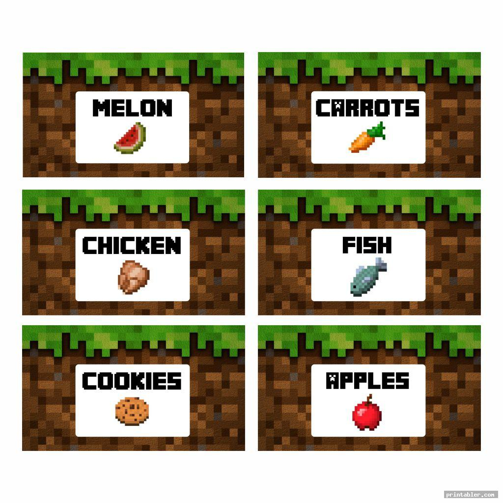 It's just a photo of Minecraft Printable Food Labels throughout minecraft cut out figure
