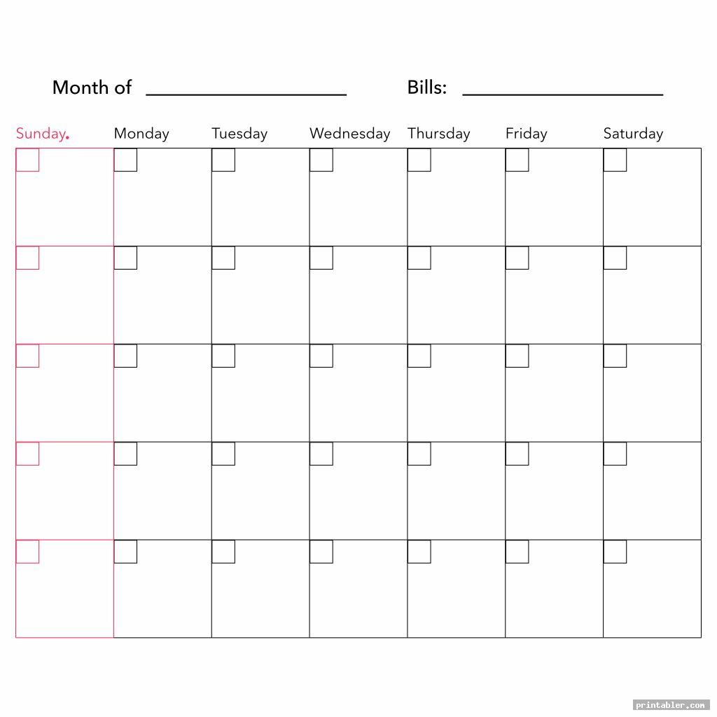 monthly calendar printable bill payment chart