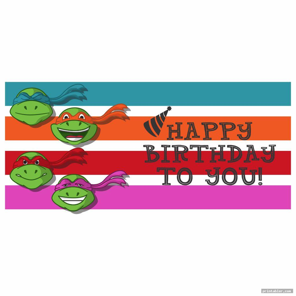 ninja turtle happy birthday banner printable template for use