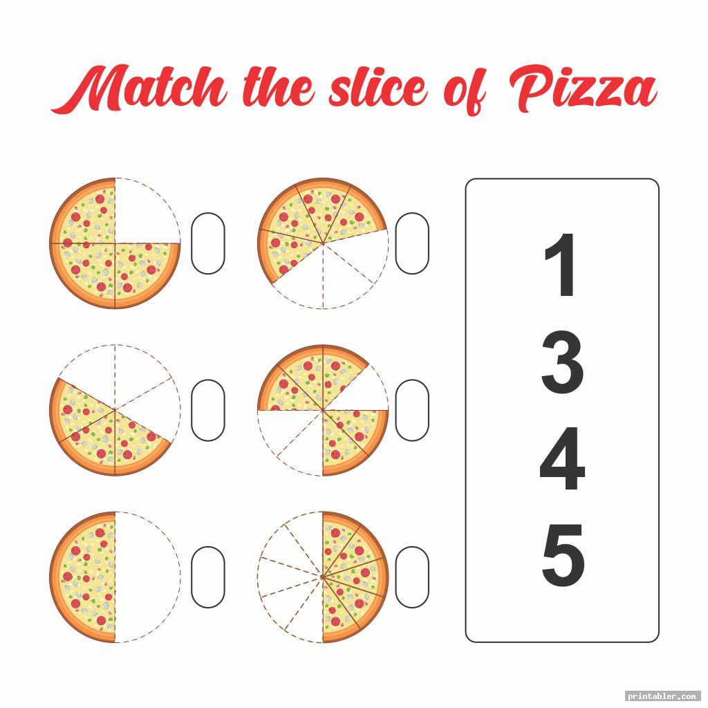 pizza slices printable number match for preschool