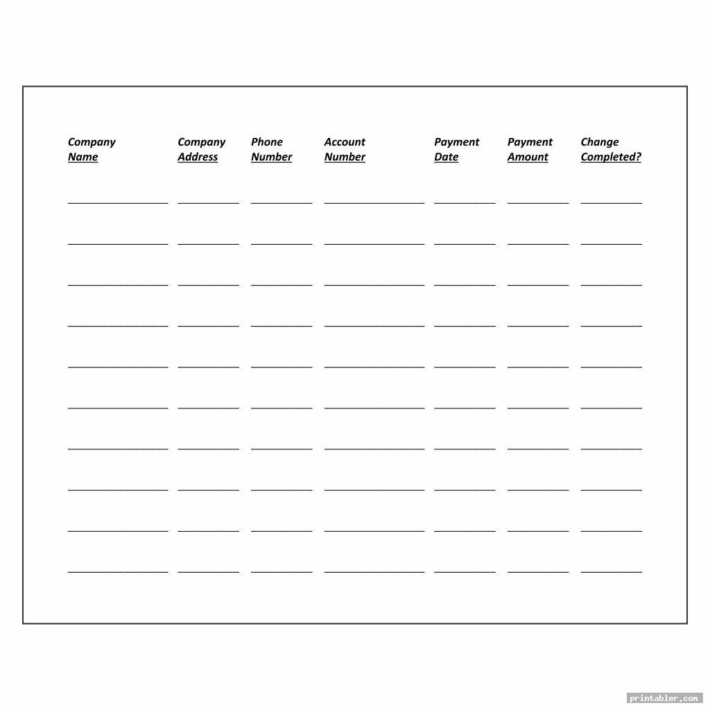 printable bill payment chart image free
