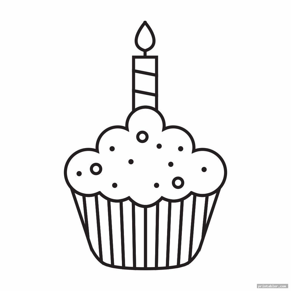 printable birthday cupcake outlines image free