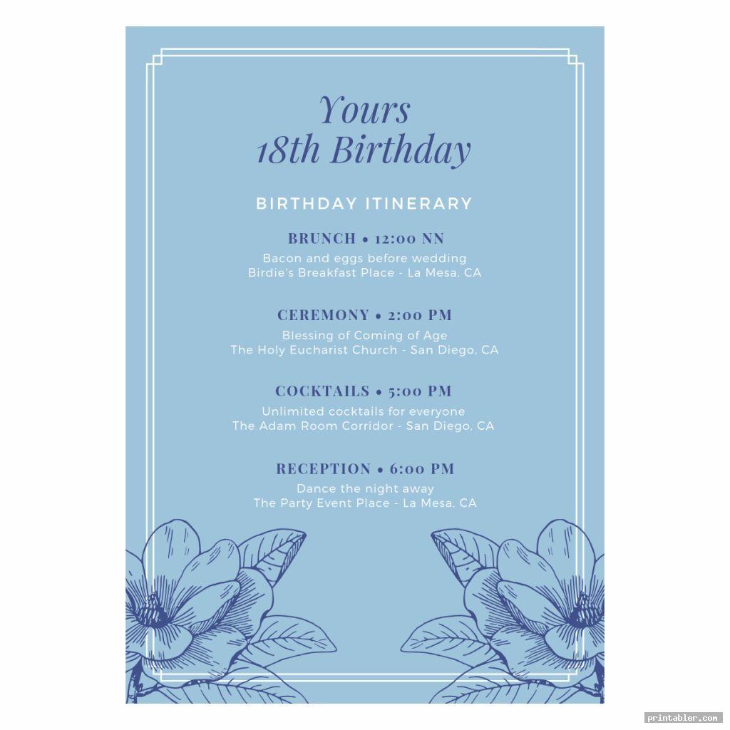 printable birthday program templates image free
