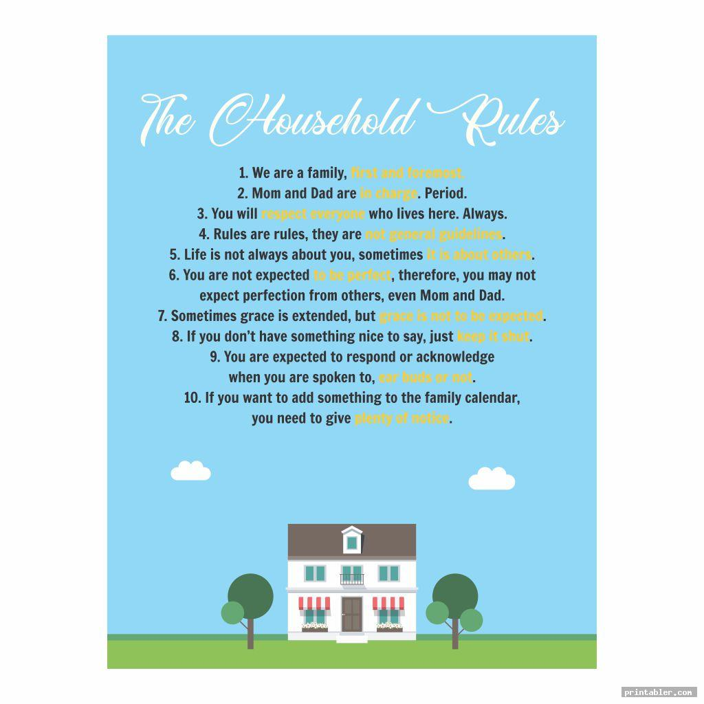 printable household rules image free