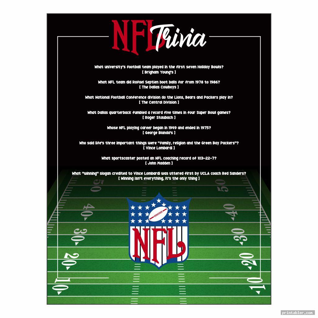 Printable NFL Trivia Questions and Answers
