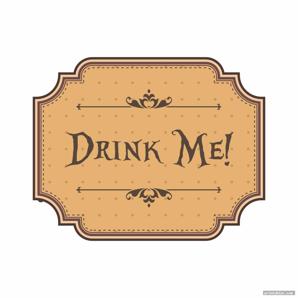 printable tags alice in wonderland drink me image free